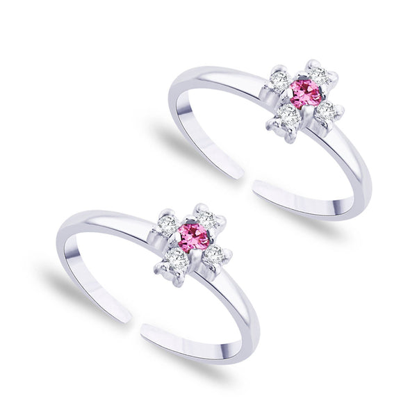 Taraash White And Pink CZ 925 Sterling Silver Toe Ring For Women LR0756S