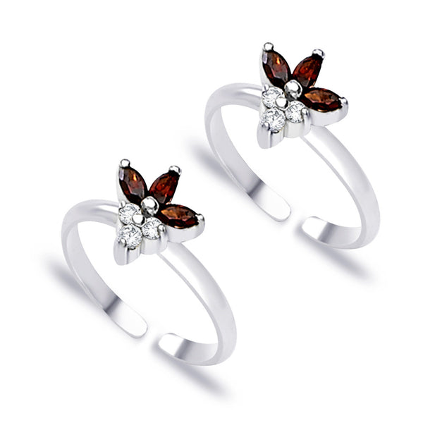 Taraash Floral White And Maroon CZ 925 Sterling Silver Toe Ring For Women LR0759S