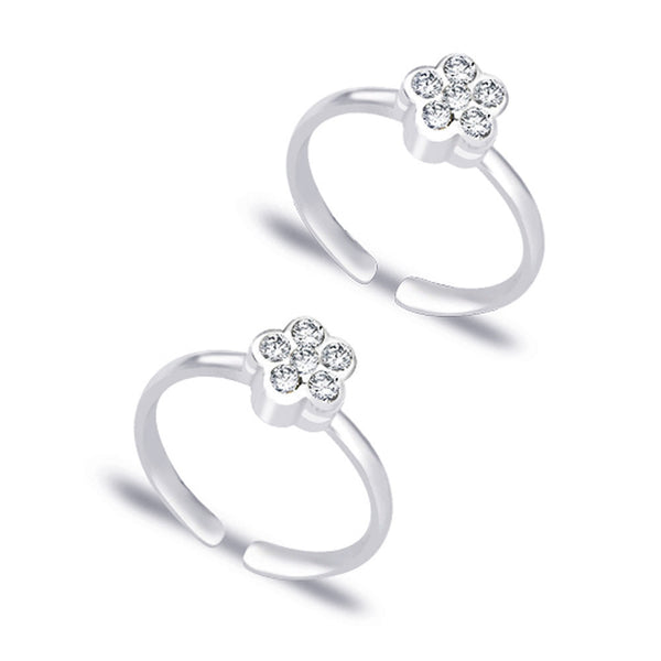 Taraash Floral White CZ 925 Sterling Silver Toe Ring For Women LR0765S