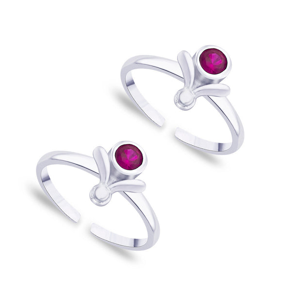 Taraash Pink CZ 925 Sterling Silver Toe Ring For Women LR0769S