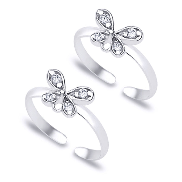Taraash Butterfly theme White CZ 925 Sterling Silver Toe Ring For Women LR0794S