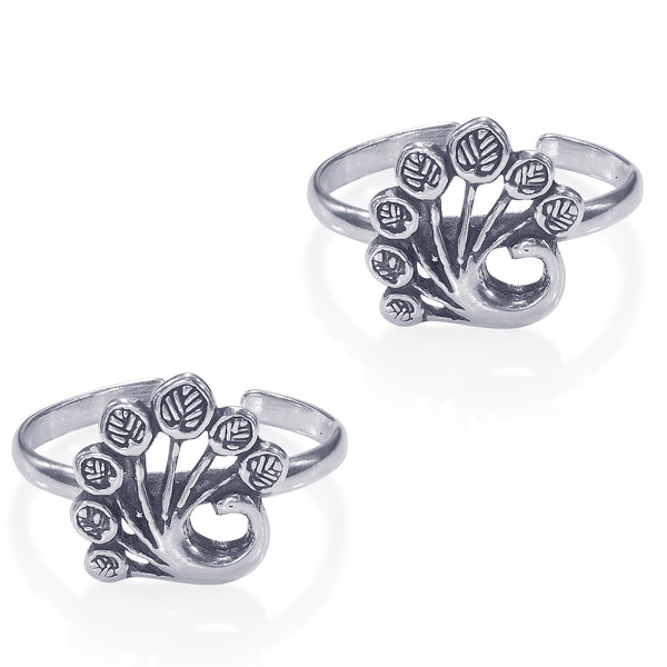 Taraash Peacock 925 Sterling Silver Toe Ring For Women LR0843A