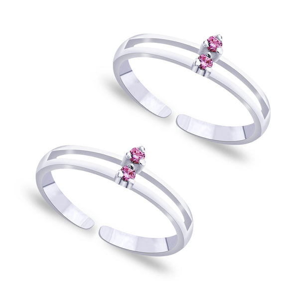Taraash Pink CZ 925 Sterling Silver Toe Ring For Women LR0871S