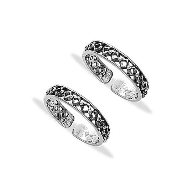 Taraash 925 Sterling Silver Cutwork Toe Ring For Women