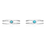Taraash 925 Sterling Silver Aquamarine Solitaire CZ Toe Rings For Women LR1050S