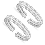 Taraash 925 Sterling Silver Twisted Wire Toe Rings For Women LR1055s