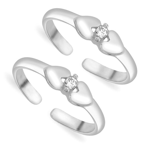 Taraash 925 Sterling Silver Heart With Solitaire CZ Toe Rings For Women LR1059S