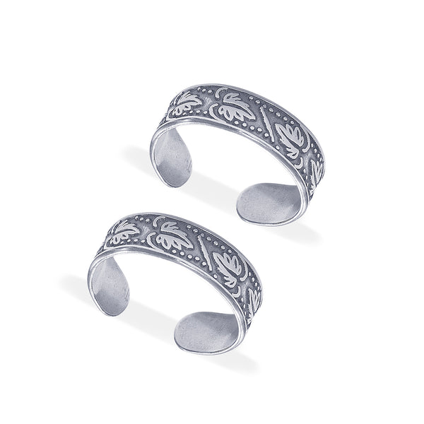 Taraash 925 Sterling Silver Antique Leaf Design Toe Ring For Women LR1167A