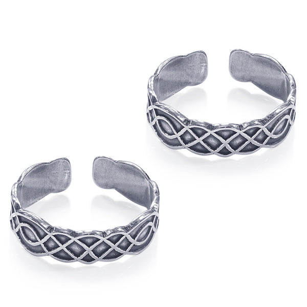 Taraash 925 Sterling Silver Antique Cutwork Design Toe Ring For Women LR1175A