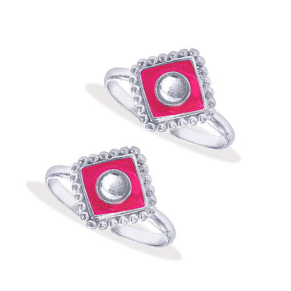 Taraash Sterling Silver Kundan With Pink Enamel Toe Ring For Women LR1177S