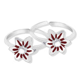 Taraash Sterling Silver Enamel Floral Style Toe Ring For Women LR1188S