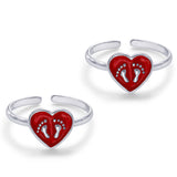 Taraash Sterling Silver Footprint In Enamel Heart Toe Ring For Women LR1198S