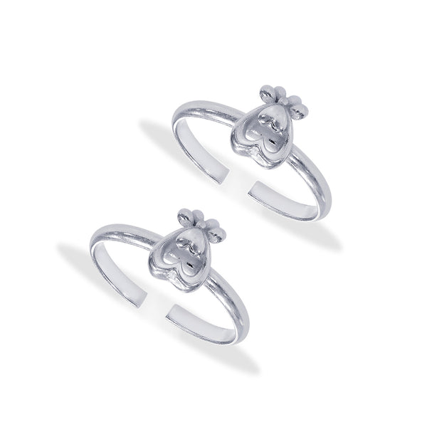 Taraash Sterling Silver Double Heart Shape Toe Ring For Women LR1209S