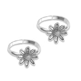 Taraash 925 Sterling Silver Antique Flower Toe Ring For Women