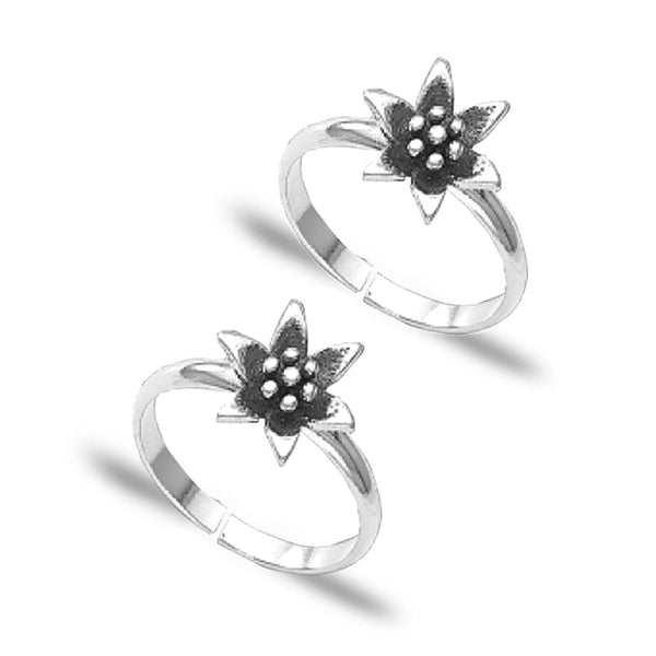 Taraash 925 Sterling Silver Floral Design Toe Ring for Women