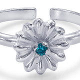 Taraash Sterling Silver Floral Adorn With Solitaire Cz Toe Ring For Women LR1238S