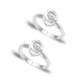 Taraash 925 Streling Silver Round Design Toe Ring for Women