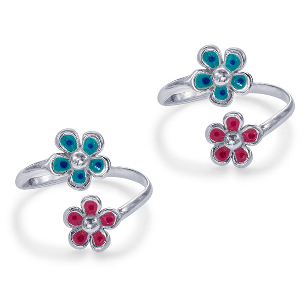 Taraash Sterling Silver Enamel Floral Top Openable Toe Ring For Women LR1264S