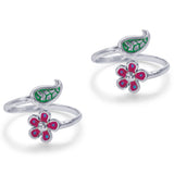 Taraash Sterling Silver Enamel Leaf & Floral Top Openable Toe Ring For Women LR1265S