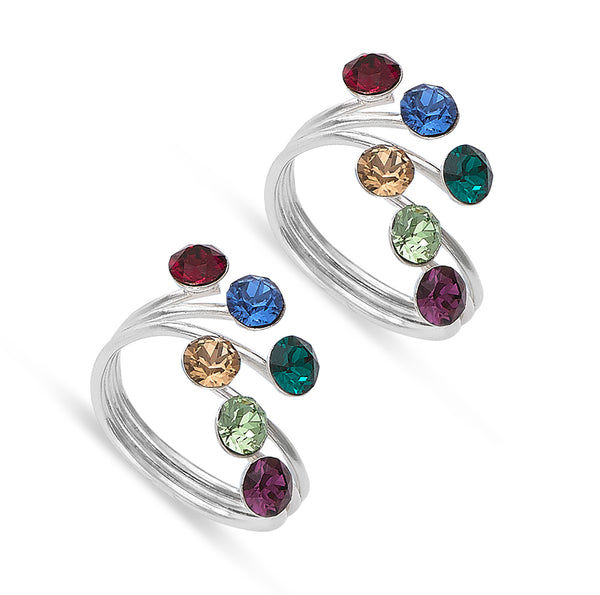 Taraash 925 Sterling Silver Multicolor Stone Toe Ring For Women LR1340S
