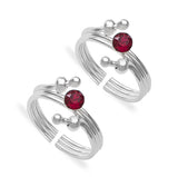 Taraash 925 Sterling Silver Red Stone Toe Ring For Women LR1344S