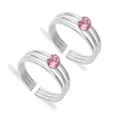 Taraash 925 Sterling Silver Pink Stone Toe Ring For Women LR1345S