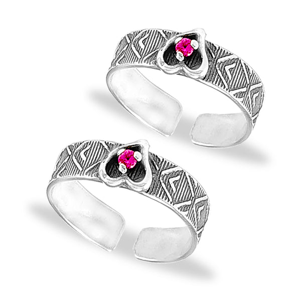 Taraash 925 Silver Heart Design Pink CZ Toe Ring For Women