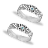 Taraash 925 Silver Butterfly Design Blue CZ Toe Ring For Womem