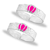 Taraash 925 Silver Pink Lotus Design Toe Ring For Women