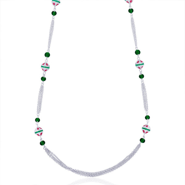 Taraash Chain Green Beads in 925 Sterling Silver Long Neck Chain For Women NK1440S