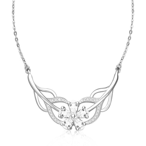 Silver necklace buy necklace sets online at best prices in india taraash 925 sterling silver floral design neckchain for women nk1503r aloadofball Gallery