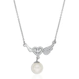 Taraash Sterling Silver White CZ & Pearl Neckchain For Women NK1530R