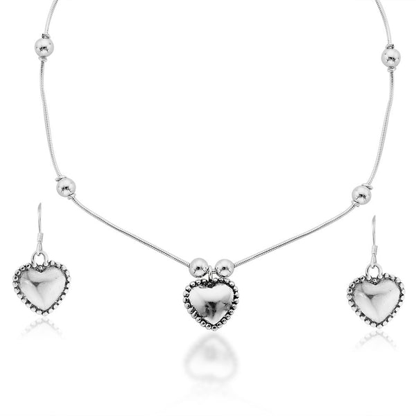 Taraash 925 Sterling Silver Necklace Set For Women Silver-NS1170A