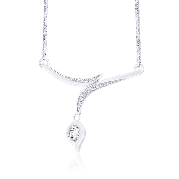 Taraash 925 Sterling Silver CZ Necklace Set for women.NS1228R