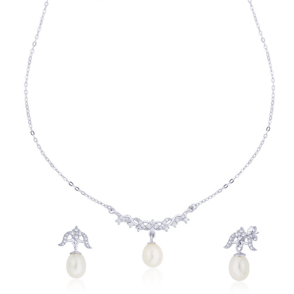 Taraash Curved CZ Pearl Drop 925 Sterling Silver Necklace Set For Women NS1259R
