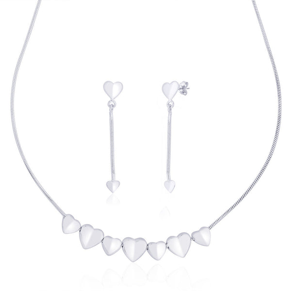 Taraash Beautiful 925 Sterling Silver Heart Necklace Set For Women NS1263S