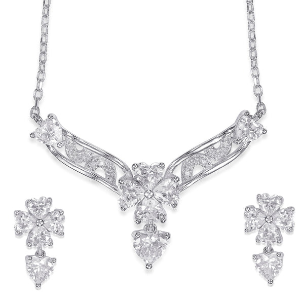 Taraash 925 Sterling Silver Floral Necklace set for women NS1274R