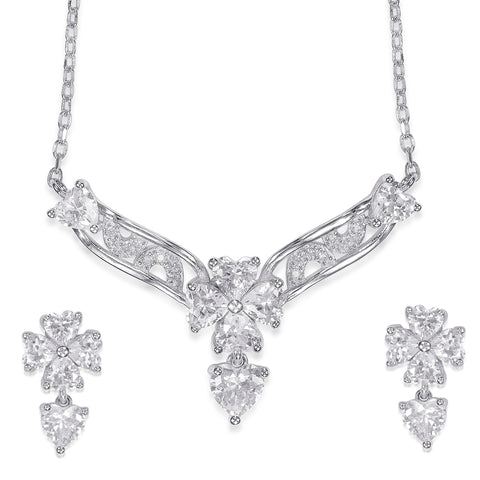 Silver necklace buy necklace sets online at best prices in india taraash 925 sterling silver floral necklace set for women ns1274r aloadofball Gallery