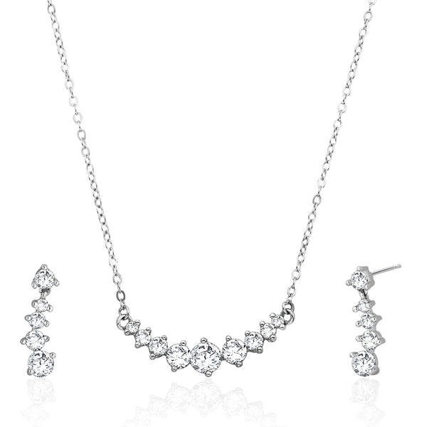 Taraash Sterling Silver round cut white cz necklace for women NS1284R
