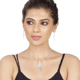 Taraash 925 Sterling Silver Chain Based Pearl Necklace Set For Women NS1294S