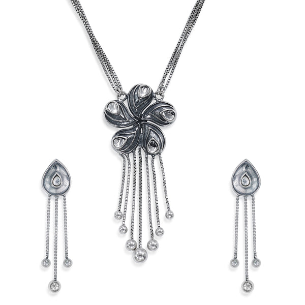 Taraash Sterling Silver Antique-Finish Floral Necklace Set For Women NS1299A