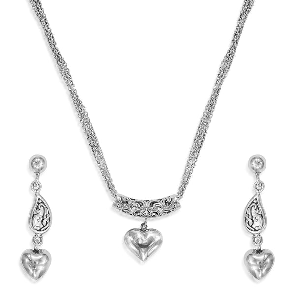 Taraash Sterling Silver Vintage Inspired Heart Necklace Set For Women NS1300A