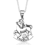 Taraash Tarus Zodiac CZ Studded 925 Sterling Silver Pendant for unisex PD0285AI-02