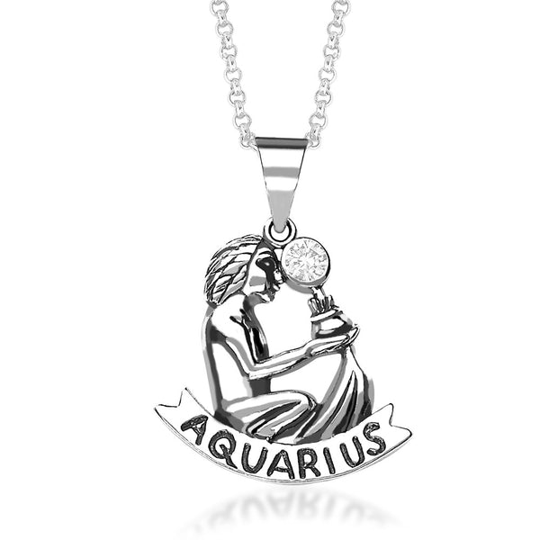 Taraash Aquarius Zodiac CZ Studded 925 Sterling Silver Pendant for unisex PD0285AI-11