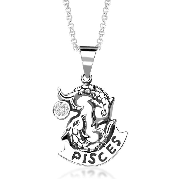 Taraash Pisces Zodiac CZ Studded 925 Sterling Silver Pendant for unisex PD0285AI-12