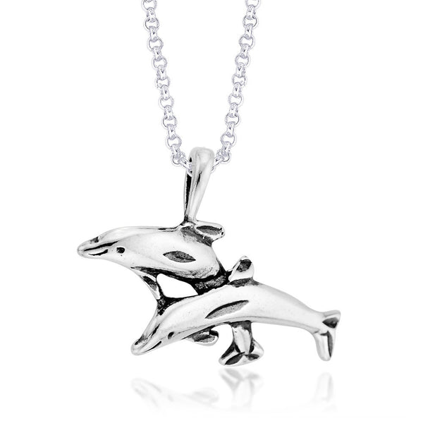 Taraash Dolphin with the Fancy Design Highlighted with Antique Finish 925 Sterling Silver PD1341A