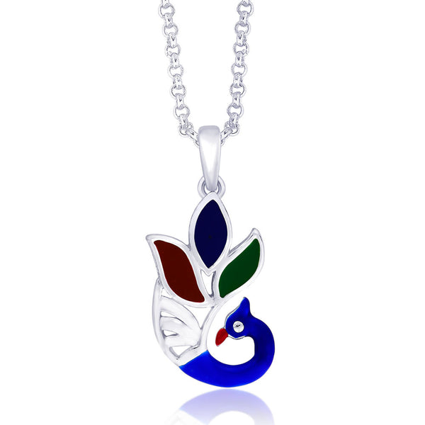 Taraash Beautiful Enamel Peacock 925 Sterling Silver Pendant PD1366S