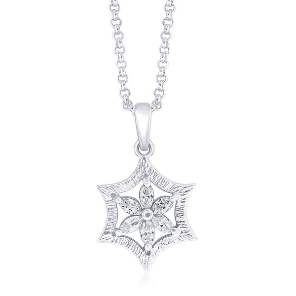 Taraash CZ Floral 925 Sterling Silver Pendant For Women PD1388R