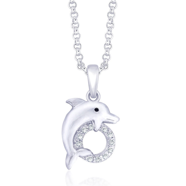 Taraash Dolphin with CZ 925 Sterling Silver Pendant For Women PD1389R