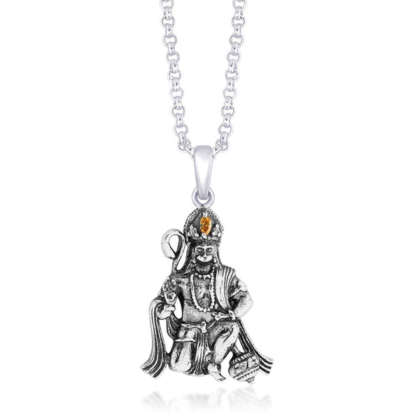 Taraash CZ Hanumanji 925 Silver Pendant For Men PD1438A